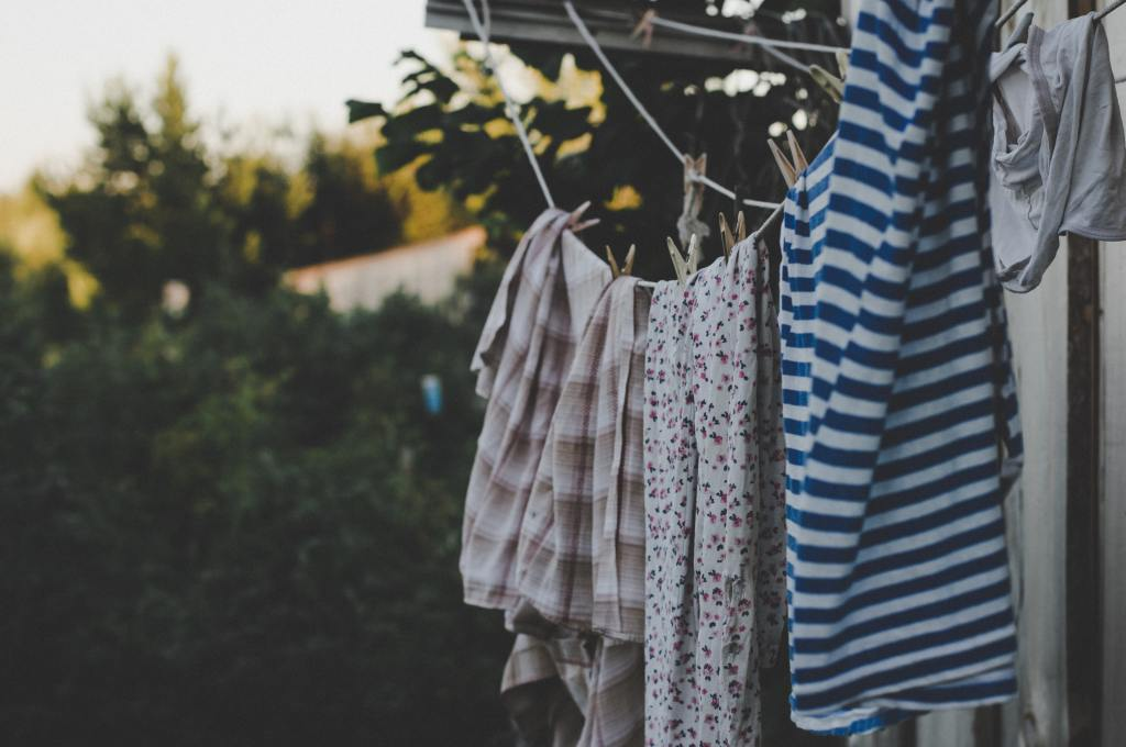 Washing line with clothes hanging on it